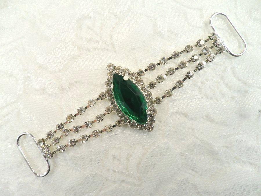 Rhinestone Embellishment Green Silver 3.5 (GB558)