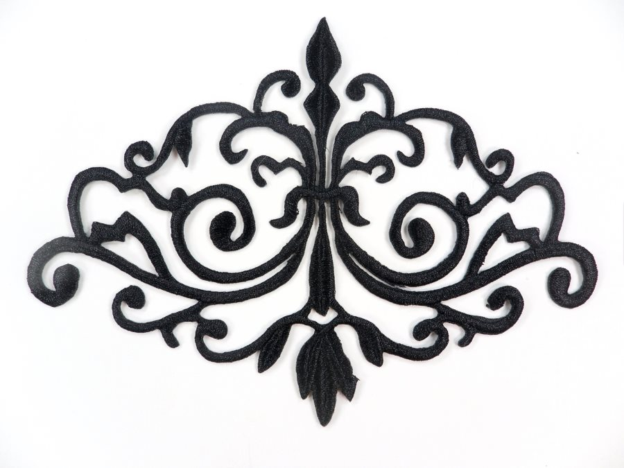 GB56 Embroidered Applique Black Iron On Designer Scroll Patch   6.5
