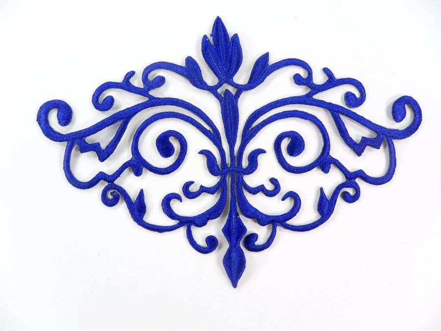 GB56 Embroidered Applique Blue Iron On Designer Scroll Patch   6.5