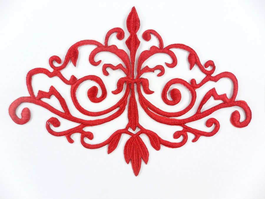 GB56 Embroidered Applique Red Iron On Designer Scroll Patch   6.5
