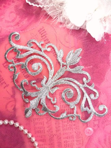 RMGB56 REDUCED Silver Metallic Iron On Designer Embroidered Applique 6.5