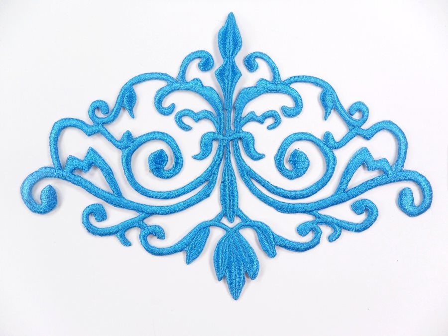 GB56 Embroidered Applique Turquoise Iron On Designer Scroll Patch   6.5