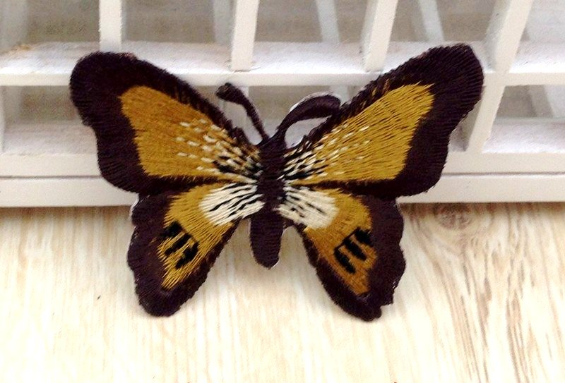 Embroidered Butterfly Applique Brown Gold White (GB562)