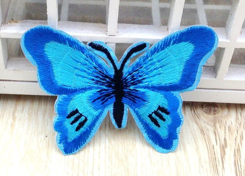 Embroidered Butterfly Applique Turquoise Black (GB562)