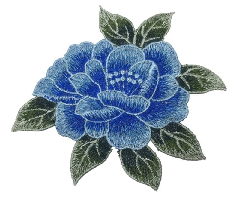 Embroidered Floral Applique Blue Clothing Patch Craft Motif  6.25 (GB566)
