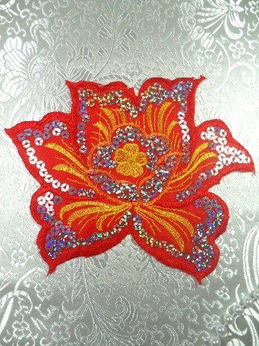 Red sequin flower applique