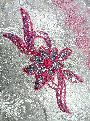 GB58 Dark Pink Fuchsia Flower Sequin Embroidered Floral Applique 9.5\