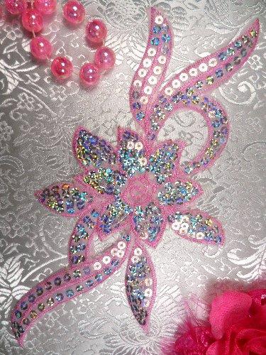 GB58 Light Pink Flower Sequin Embroidered Floral Applique 9.5\