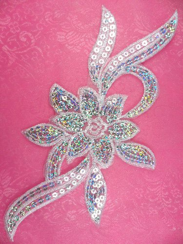 GB58 White Flower Sequin Embroidered Floral Applique 9.5