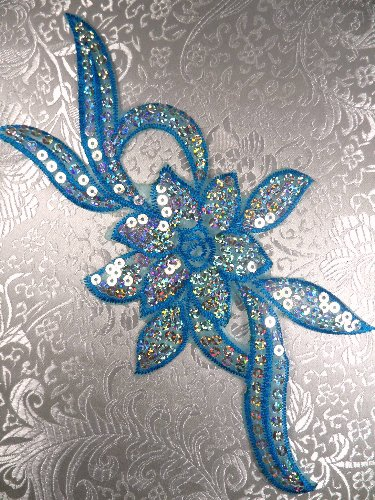 GB58 Turquoise Flower Sequin Embroidered Floral Applique 9.5\