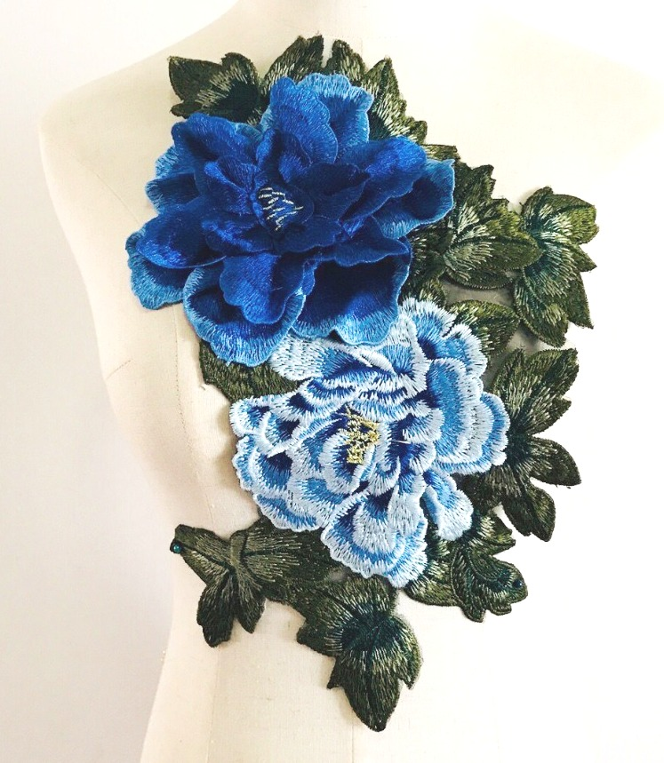 3D Applique Embroidered Floral Blue Craft Patch 13.5 (GB587)