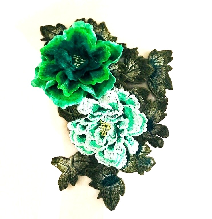 3D Applique Embroidered Floral Green Craft Patch 13.5 (GB587)