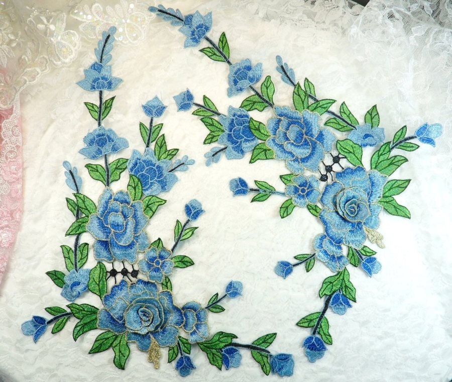 Embroidered Floral 3D Applique Mirror Pair Blue Craft Patch 14 (GB588X)