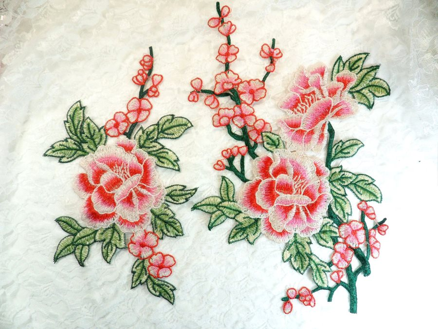 Set Of Two Embroidered Floral Applique Pink Red Craft Patch (GB589X)