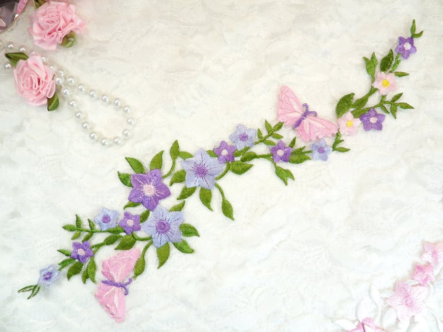 fd868430197 Butterfly Vine Applique Embroidered Lavender Flower Clusters Iron On 10.5  (GB590)