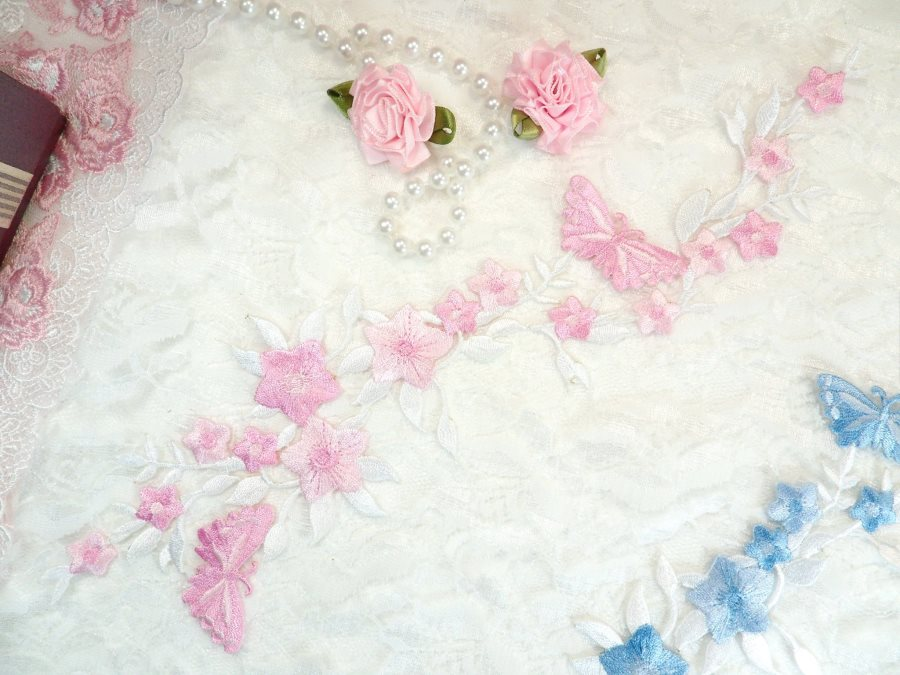 Butterfly Vine Applique Embroidered Pink Flower Clusters Iron On 10.5 (GB590)