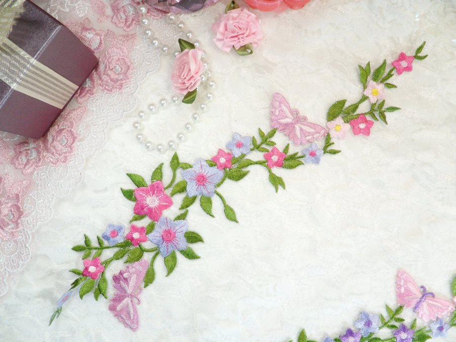 Erfly Vine Lique Embroidered Pink Multi Colored Flower Cers Iron On 10 5 Gb590