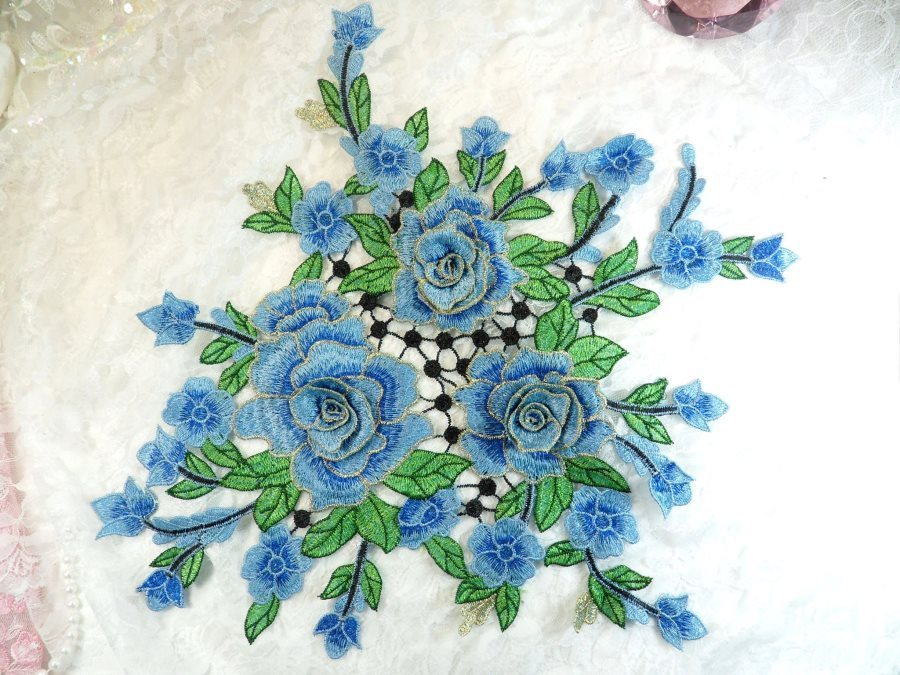 Embroidered Floral 3D Applique Blue Craft Patch Clothing Motif 15 (GB591)