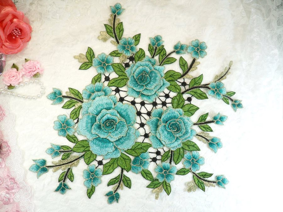 Embroidered Floral 3D Applique Teal Craft Patch Clothing Motif 15 (GB591)