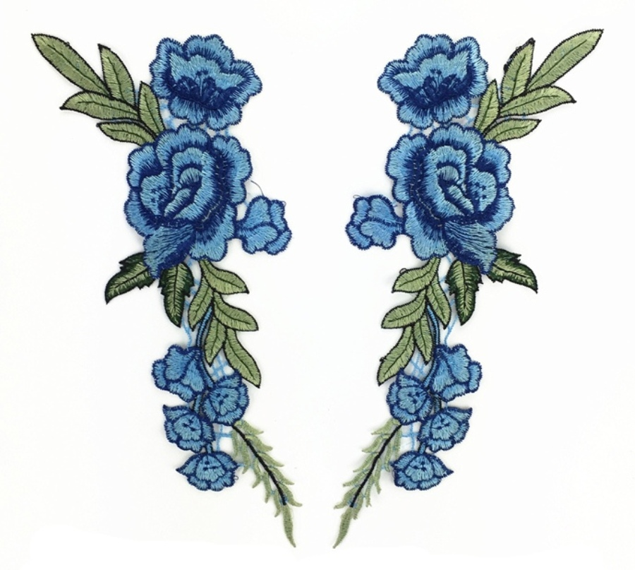 Embroidered Floral Applique Mirror Pair Blue Clothing Patch Craft Motif 12 (GB596X)