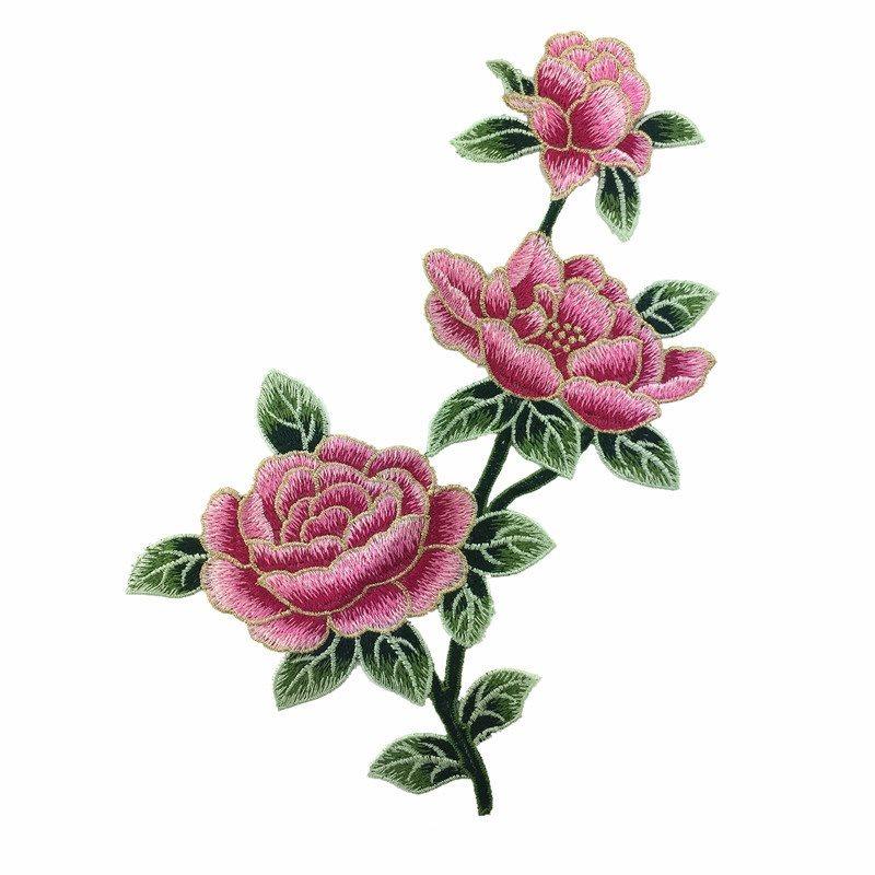 GB599 Embroidered Floral Applique Mauve Rose Patch Craft Motif