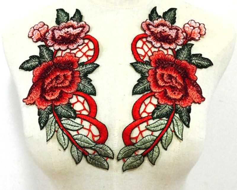 Embroidered Floral Applique Mirror Pair Red Clothing Patch Craft Motif 10.5 (GB600X)