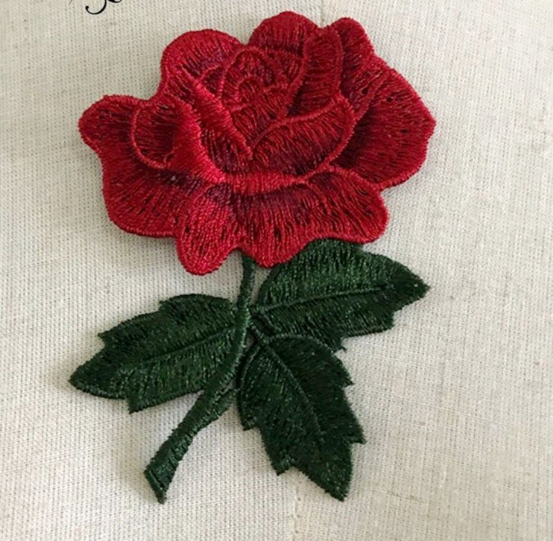 Embroidered Applique Red Rose Craft Patch 3.5 BL132