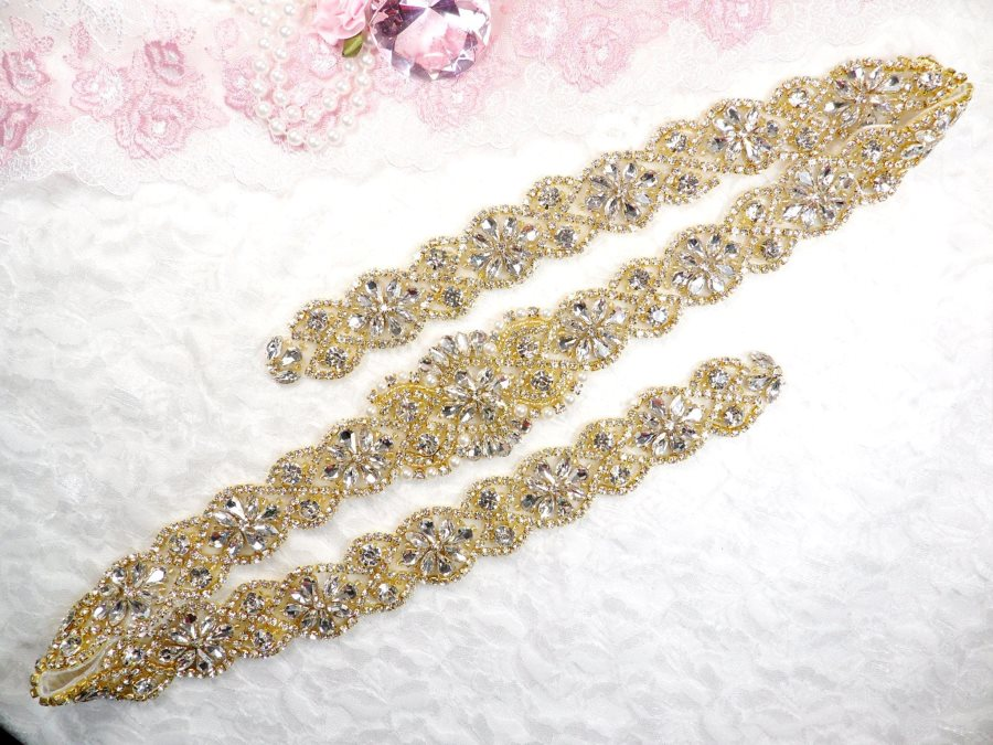 Gold Bridal Sash Applique w/ Beads and Pearls Surrounding Crystal Rhinestones 37.5 (GB610)