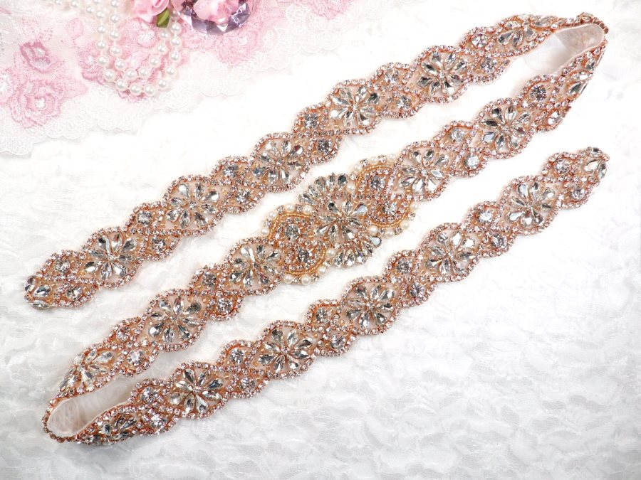 Rose Gold Bridal Sash Applique w/ Beads and Pearls Surrounding Crystal Rhinestones 37.5 (GB610)