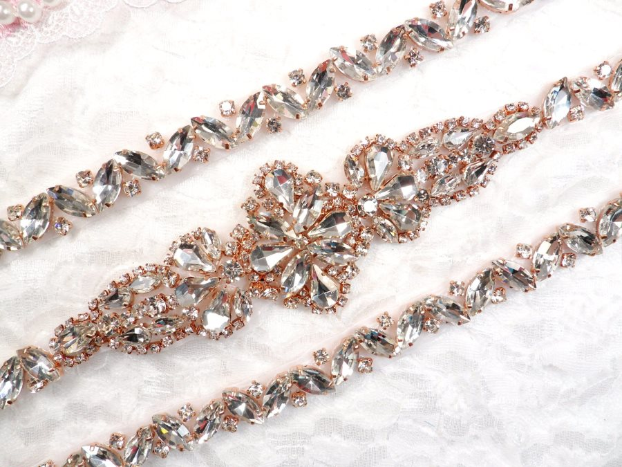 "Rose Gold Bridal Sash Applique w/ Matching Beads Surrounding Crystal Rhinestones 36"" (GB613)"