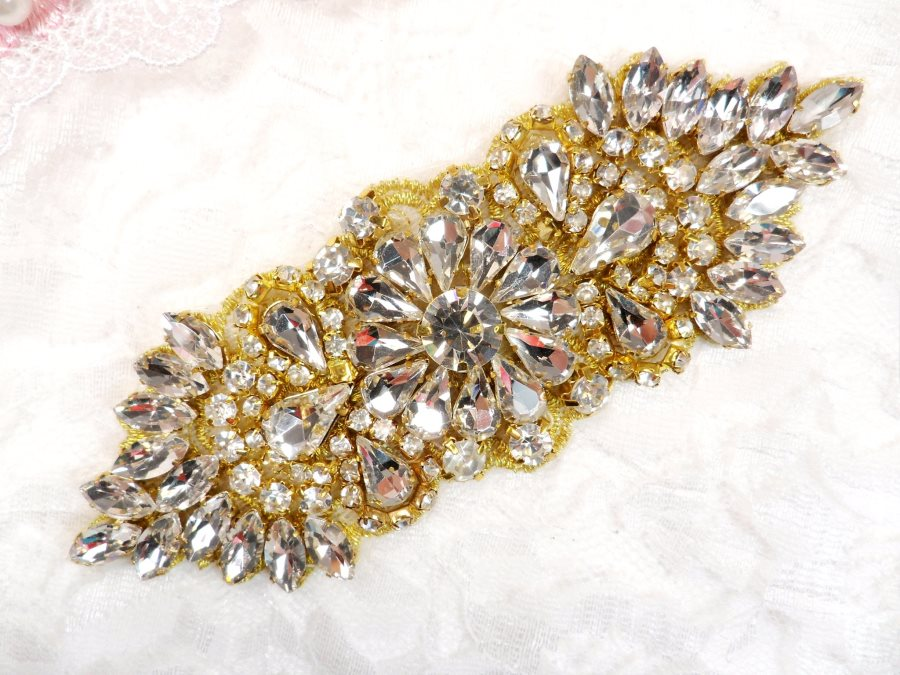 Crystal Rhinestone Gold Applique 4.5 (GB614)
