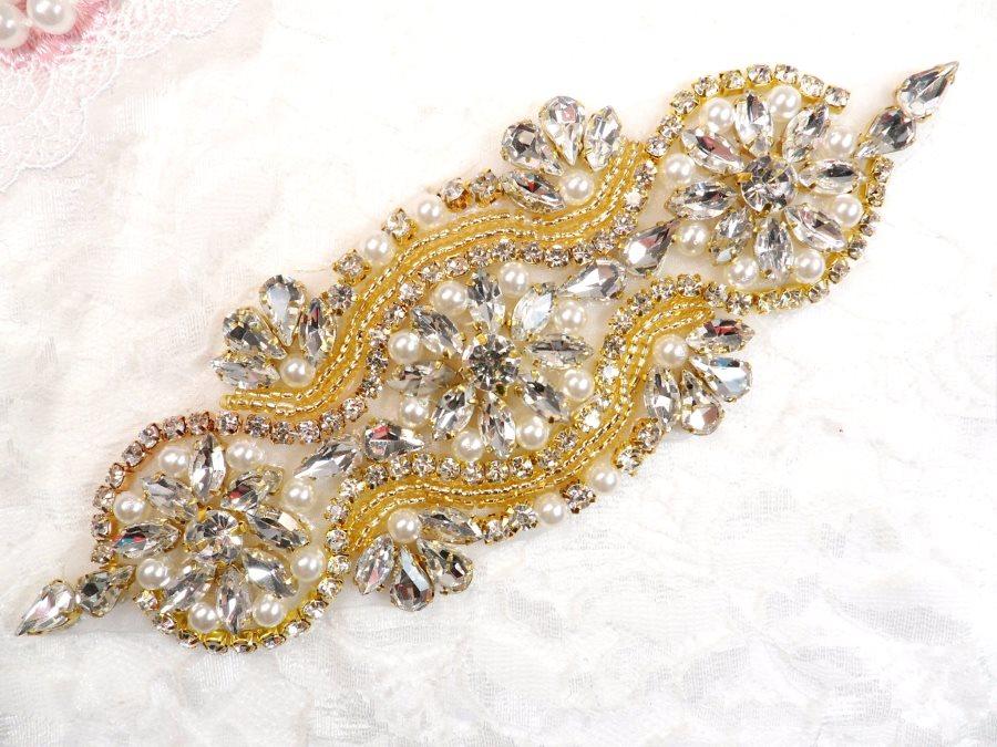Crystal Rhinestone Gold Pearl Beaded Applique 6.25 (GB617)