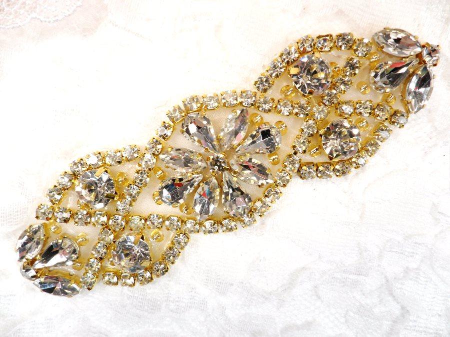 Crystal Rhinestone Gold Applique 3.75 (GB618)