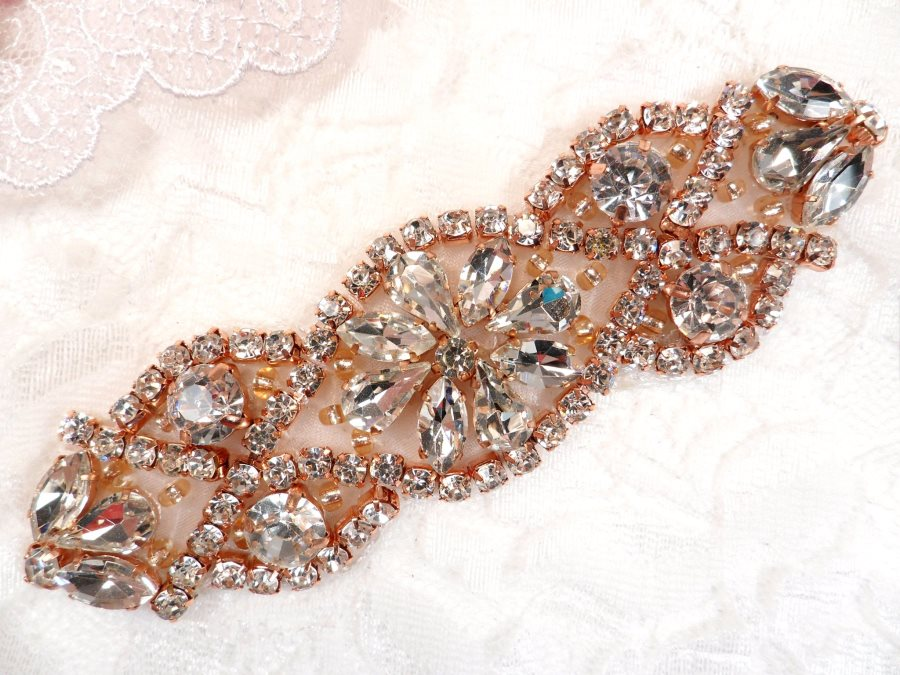 Crystal Rhinestone Rose Gold Applique 3.75 (GB618)