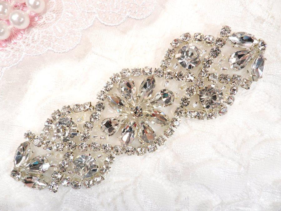 (REDUCED) Crystal Rhinestone Silver Applique 3.75 (RMGB618)
