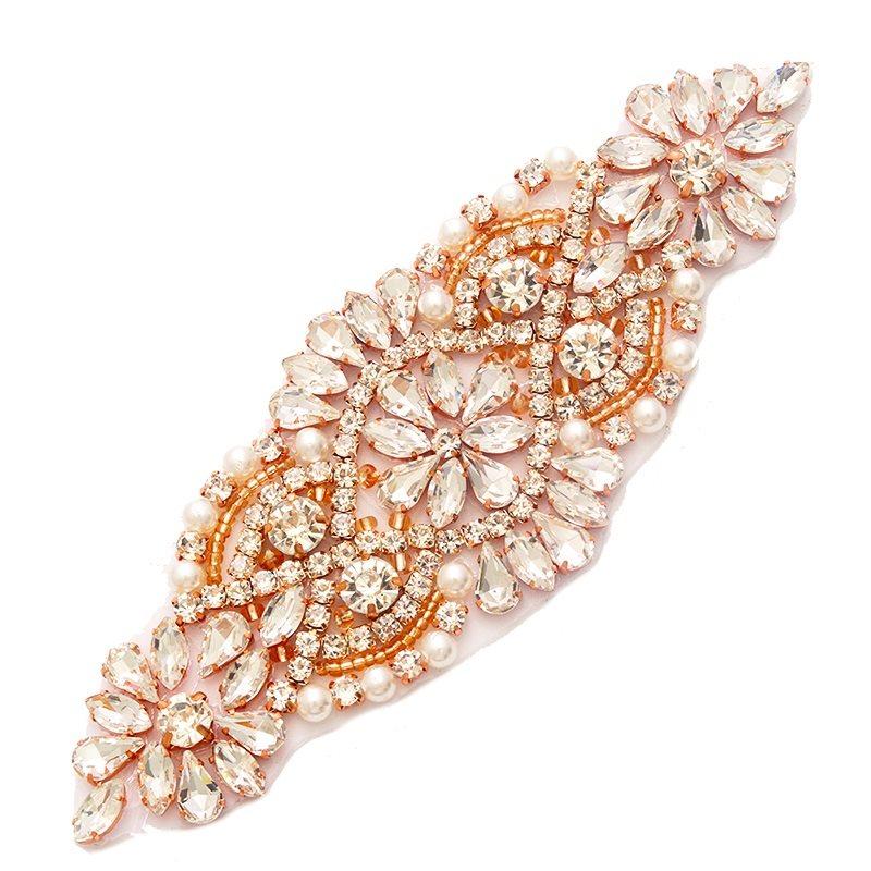 White Wedding Dress Gold Jewelry: Crystal Rhinestone Rose Gold Setting White Pearl Beaded