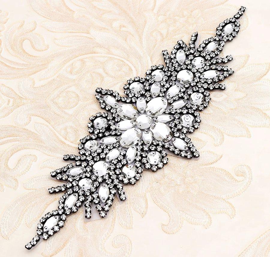 Black Setting Applique Crystal Clear Glass Rhinestones Bridal Sash Patch 10 (GB621)