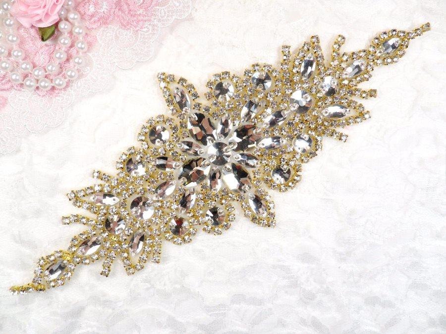 (REDUCED) Crystal Rhinestone Gold Applique 10 (RMGB621)