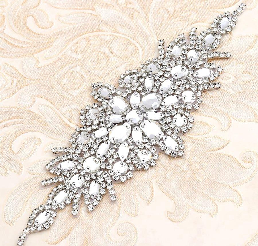 Silver Setting Applique Crystal Clear Glass Rhinestones Bridal Sash Patch 10 (GB621)