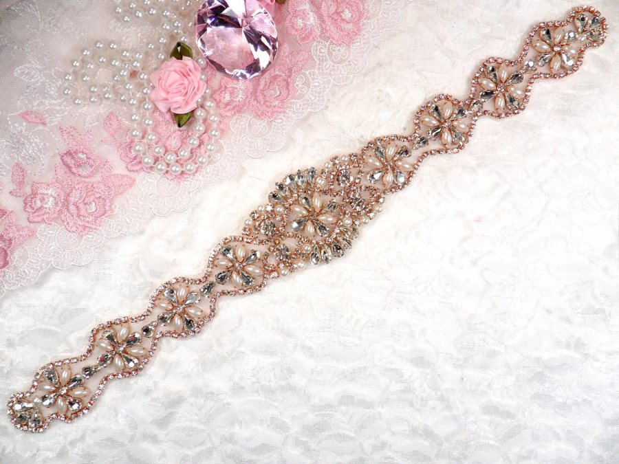 Rose Gold Bridal Sash Applique w/ Beads and Pearls Surrounding Crystal Rhinestones 14 (GB622)