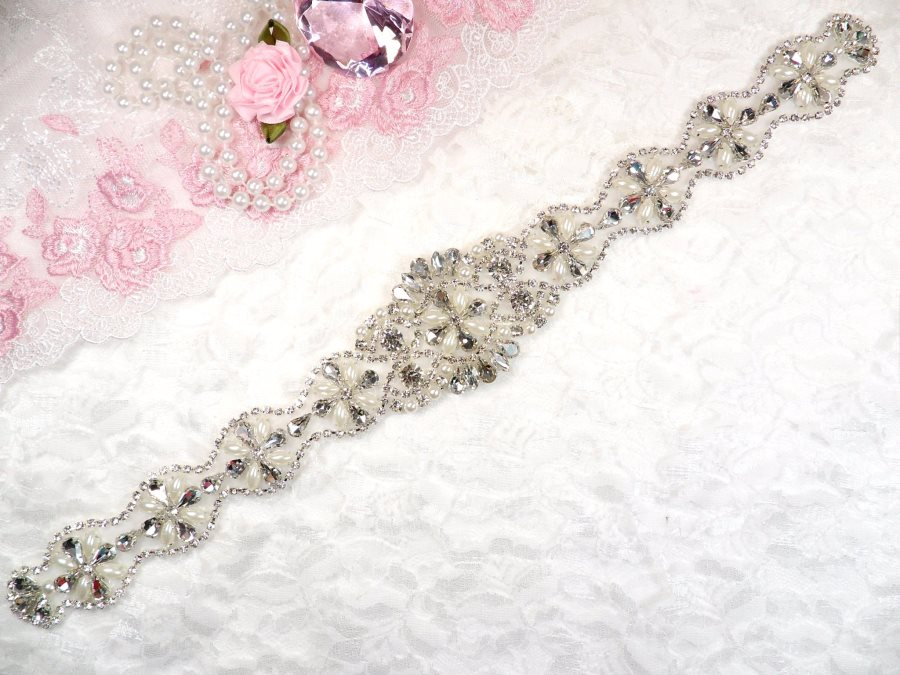 Silver Bridal Sash Applique w/ Matching Beads and Pearls Surrounding Crystal Rhinestones 14 (GB622)