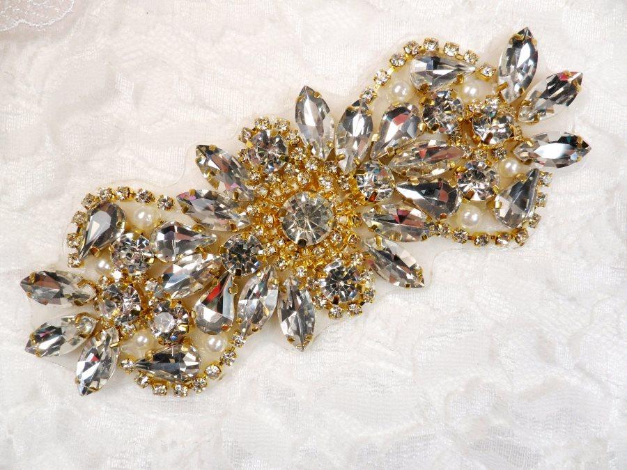 Crystal Rhinestone Gold Pearl Applique 4.75 (GB624)