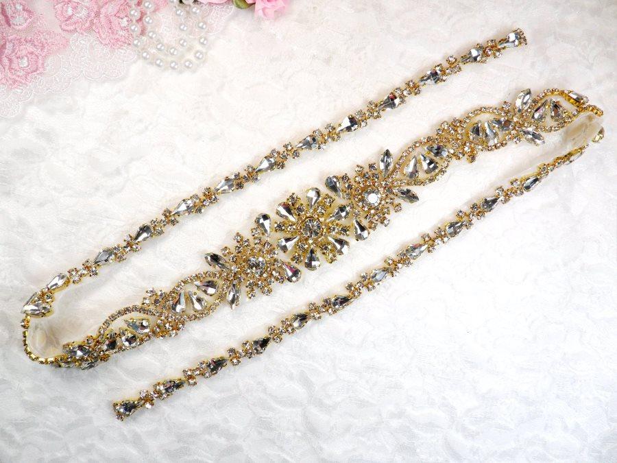 Gold Bridal Sash Applique w/ Crystal Rhinestones 36 (GB626)