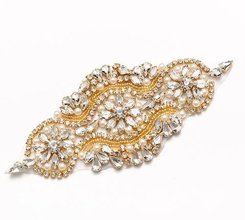 Crystal Rhinestone Gold Pearl Beaded Applique 6.75 (GB627)