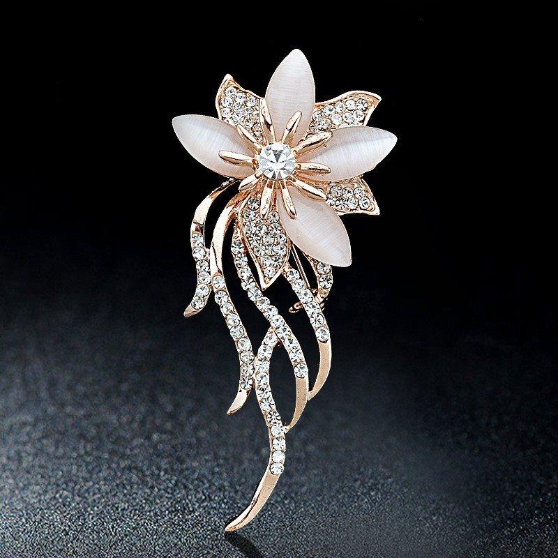 Rose Gold Metal Crystal Rhinestone Brooch Floral Flower Pin (GB629)
