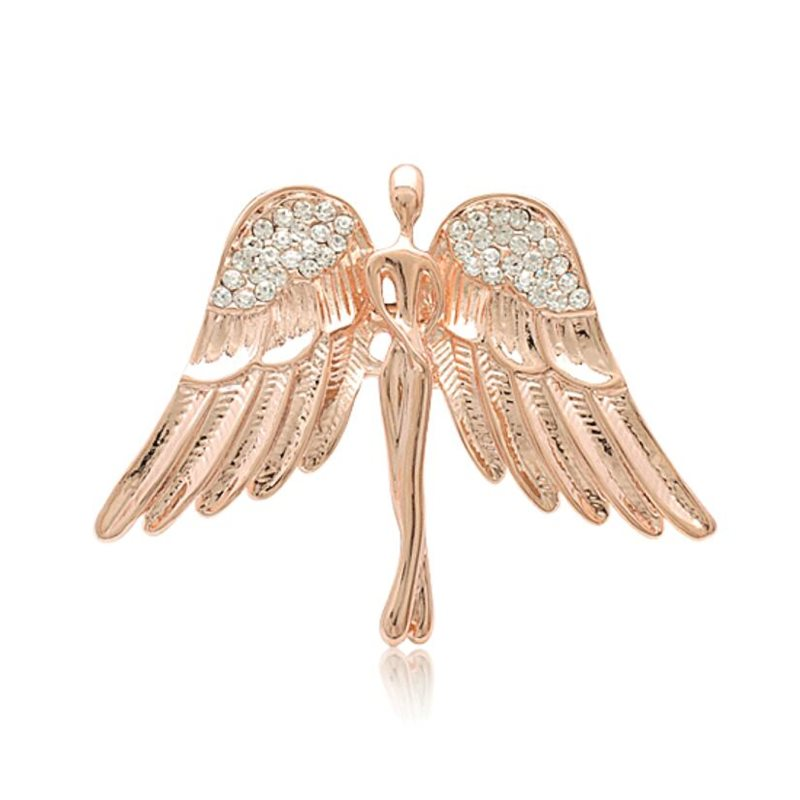 Angel Wings Pin Rose Gold Crystal Rhinestone Brooch (GB630)