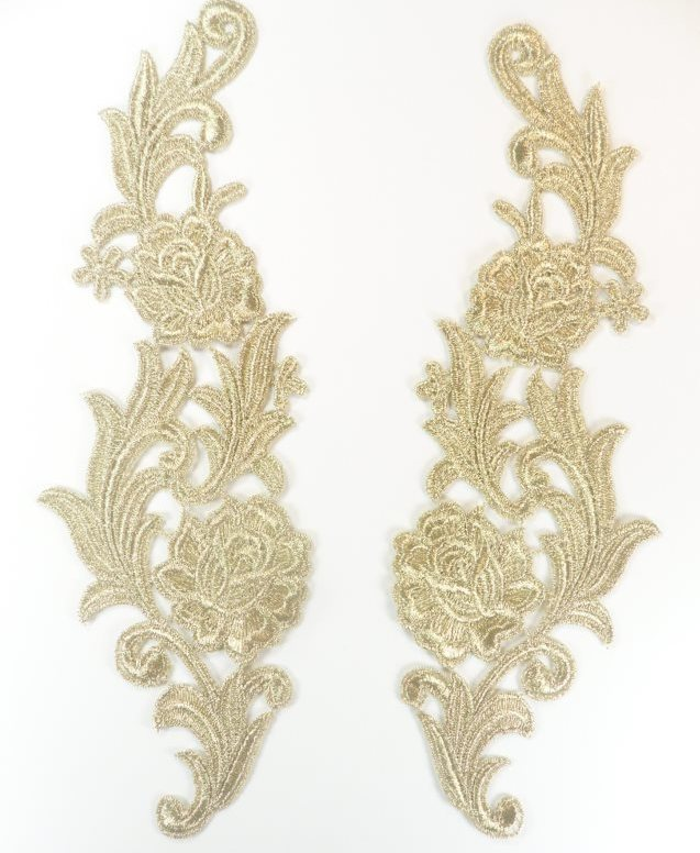 Embroidered Appliques Metallic Gold Mirror Pair Venice Lace 10.5 (GB635X)