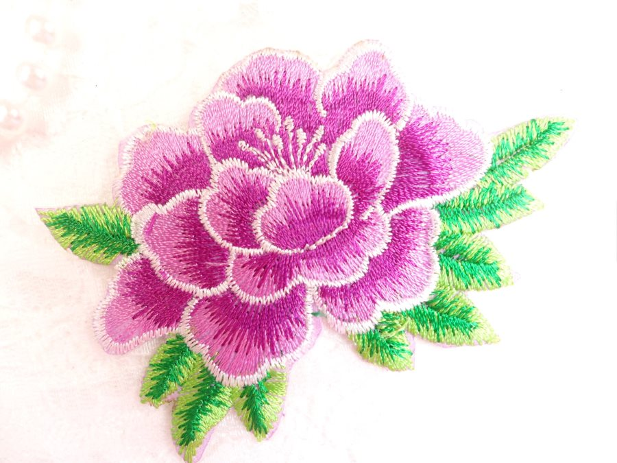 Purple flower embroidered iron on applique