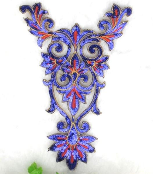 Extra Large Blue Gold Orange Bodice Yoke Embroidered Sequin Applique Motif 16 (GB645)