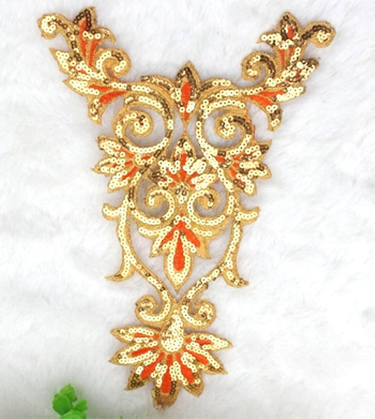 Extra Large Gold Orange Bodice Yoke Embroidered Sequin Applique Motif 16 (GB645)